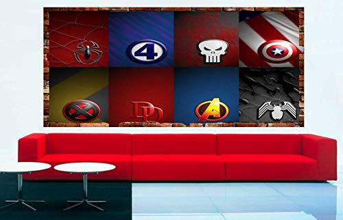 Kids Cartoon Super Heroes Avengers Logos 3D Smashed Wall Removable Wall Sticker Poster Mural Art UK (70 x 55 cm)