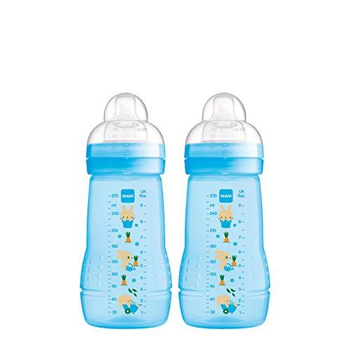 MAM Easy Active - Juego de 2 botellas para bebé (270 ml), incluye tetina MAM tamaño 1 de silicona SkinSoft y botella de leche con forma ergonómica, 0 meses, color azul