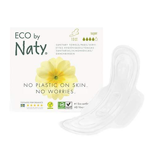 Eco by Naty, Serviettes hygiéniques, Super, 13 serviettes. Super absorbant et fine. Fabriquées à partir de fibres végétales. Vegan. 0% plastique.