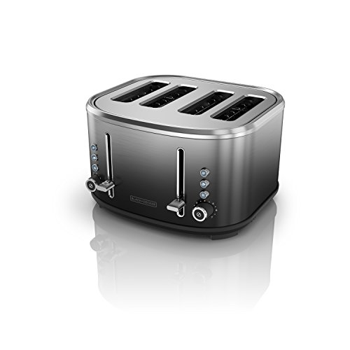 BLACK+DECKER 4-Slice Extra-Wide Slot Toaster, Stainless Steel, Ombré Finish, TR4310FBD,Black/Silver Ombre
