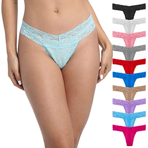 Pmrxi Pack of 10 Sexy Women All Lace Thong, Cotton Thong Lace Trim, Assorted Different Lace Pattern & Colors, Assorted 10 Pattern & Colors, X-Large