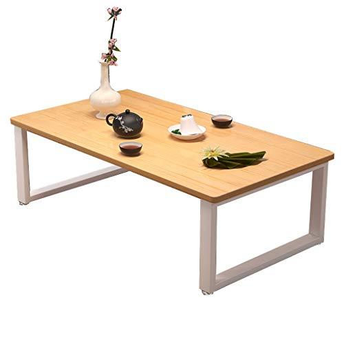 SH-tables Mesa De Centro, Mesa De Té Japonesa/Mesa De Kang Baja, (Marco De Acero + Madera Maciza) Mesa De Ventanas De La Bahía, para Uso En El Hogar, Estudio (Size : 60X40X40CM)