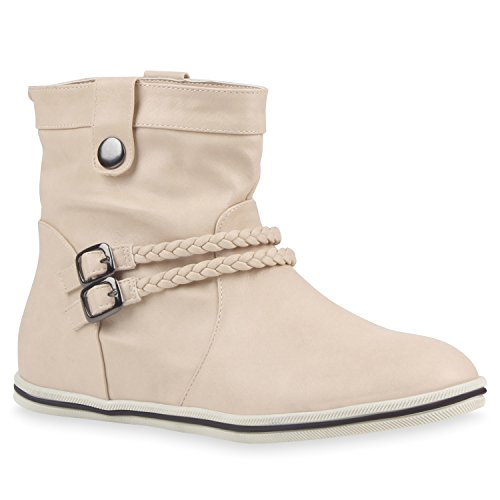 Sportliche Damen Stiefeletten Schnallen Zierknöpfe Flache Boots Schuhe 113612 Nude 40 Flandell