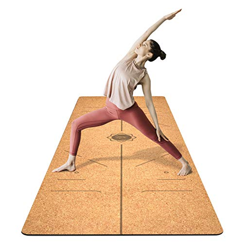 FrenzyBird 5 mm Cork Yoga Mat with Carrying Strap and Alignment Marks, Anti Slip and Easy to Clean,...