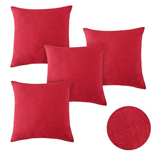 Deconovo Funda de Cojín Suave Efecto Lino con Cremallera Invisible 45 x 45 cm 4 Pieza Rojo