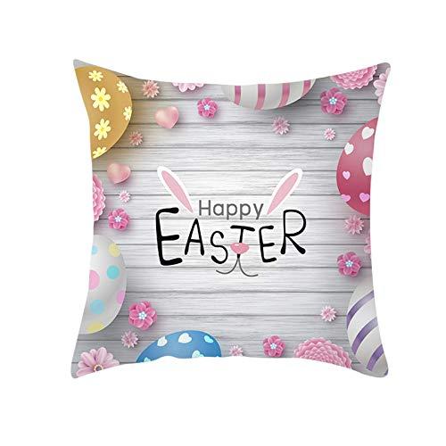 Huevos de Pascua Casa de Campo Funda de Almohada Decorativa Temporada de Primavera Conejos Conejitos Sofá Cama Funda de Almohada Lindo Protector de cojín para sofá Sofá