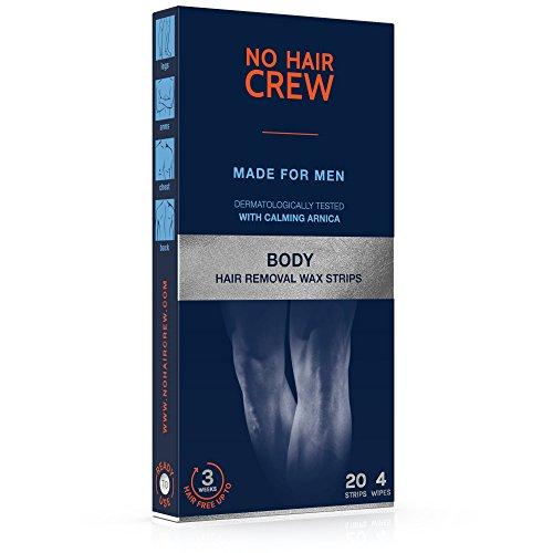NO HAIR CREW Premium Kaltwachsstreifen für den Körper – Haarentfernungs-wachs für Männer, 20 Wachsstreifen & 4 Pflegetücher