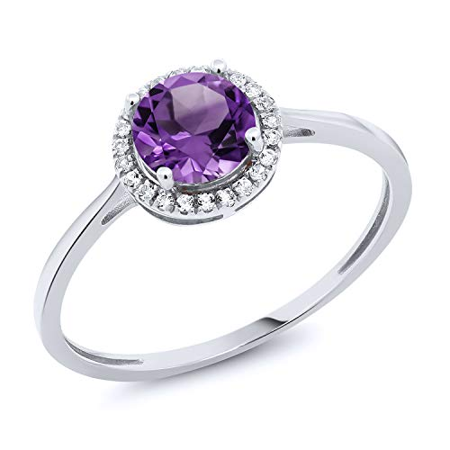 Gem Stone King 10K White Gold Purple Amethyst and Diamond Women's Engagement Ring 0.92 cttw (Size 8)