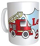 Feuerwehr Kunststoff-Tasse personalisierte Kindertasse Plastik Feuerwehrauto Feuerwehrmann Kindergarten rot