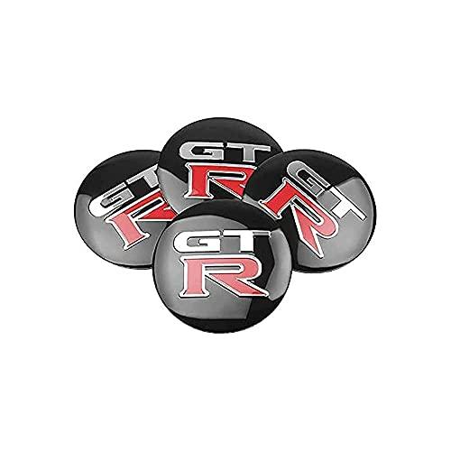 YQTYGB 4 Piezas Coche Tapas Centrales De Llantas Cubiertas, para Nissan GTR R35 R34 Altima 60mm La Cubierta Decorativa con Accesorios De Estilo del Logotipo
