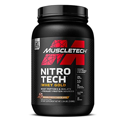 Whey Protein Powder   MuscleTech Nitro-Tech Whey Gold Protein Powder   Whey Protein Isolate Smoothie Mix   Protein Powder for Women & Men   Chocolate Protein Powder, 2.2 lbs (31 Serv)-package varies