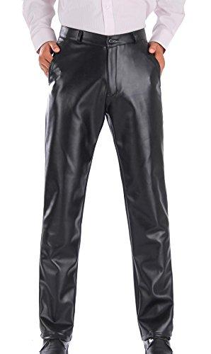 Preisvergleich Produktbild AIEOE Herren Lederhose PU Leder Bikerhose Hose Lederjeans Wasserdicht und Winddicht Schwarz - Größe 42