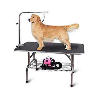 """Polar Aurora Pingkay 48"""" Black Heavy Duty Pet Professional Dog Show Stainless Steel Foldable Grooming Table w/Adjustable Arm & Noose & Mesh Tray"""
