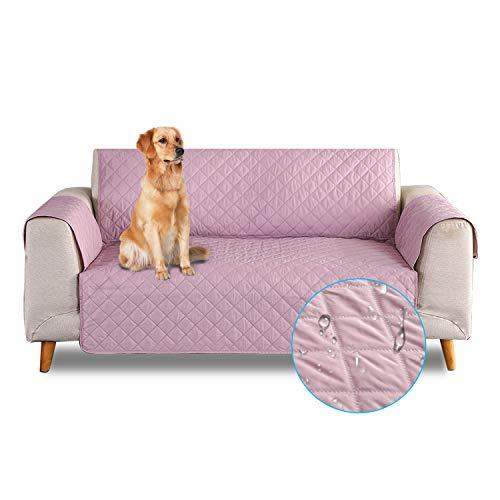 PETCUTE Funda de sofá 3 plazas Cubre Sofas Impermeable Protector de sofá Antideslizante Acolchado Sofas Fundas para Perros Rosado
