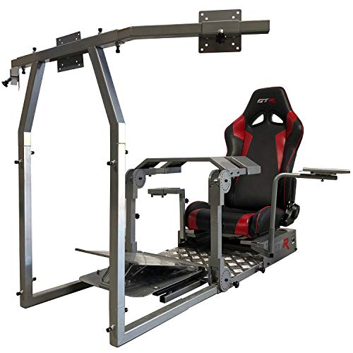 GTR Simulator - Model GTA-Pro Racing Simulator Home Workstation Racing Cockpit with Real Racing Seat (Black) and Racing Rig Control Mounts for Driving and Flight Simulator Gaming