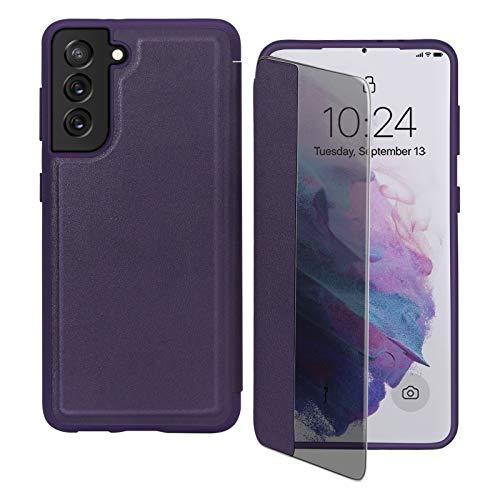 Capa flip FYY para Galaxy S21 6,2 polegadas, capa magnética fina flip para celular com proteção contra quedas e à prova de choque com função de visualização de janela para Samsung Galaxy S21 de 6,2 polegadas, Roxo