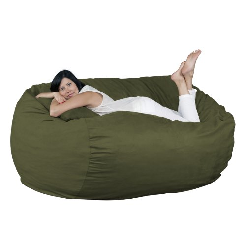 FUGU Bean Bag Chair, Premium Foam Filled 6 XL, Protective Liner Plus Removable Machine Wash Olive Green Cover