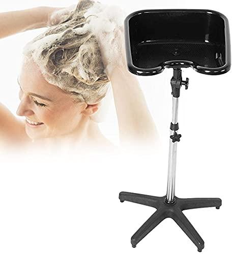 Höhenverstellbares Friseur Waschbecken Mobiles Waschbecken für den Heim- und Friseurladen, Schwarz, 2 Typ Optional (Form 2, 48 x 47,5 x 22 cm)