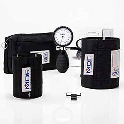 MDF® Bravata® Palm Aneroid Sphygmomanometer - Blood Pressure Monitor with Adult & Pediatric Sized Cuffs Included - Full Lifetime Warranty & Free-Parts-For-Life (MDF848XPD)