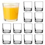 Whiskey Glasses 7oz,QAPPDA Clear Drinking Glasses,Old Fashioned Cockatail Glass Bourbon Glasses,Heavy Base Rocks Glasses For Juice,Beverages,Drinking Shot Glass Liqueue Glass Vodka Glass Cups 12 Pack