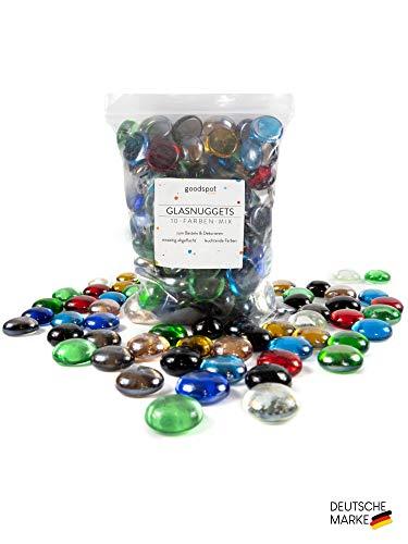 goodspot® Glasnuggets bunt 500g (ca. 120 Stück) Dekosteine zum Dekorieren und Basteln gleichmäßiger Farbmix im praktischen Beutel Glassteine