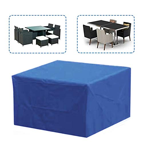 MAHFEI-Rattan Furniture Covers, Rectangle Patio Set Cover Garden Table Cover Adjustable Anti-UV Free From Bad Weather Customizable (Color : Blue, Size : 242x 162x 100cm)