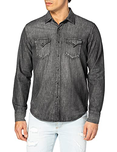 REPLAY M4860B Camisa, Gris (097 Dark Grey), M para Hombre