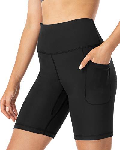 FETY Pantalones cortos de yoga de cintura alta para mujer, pantalones cortos deportivos para correr, con 2 bolsillos, control Tommy, Negro, XS