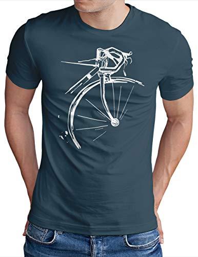 OM3® Bicycle Fahrrad T-Shirt | Herren | Vintage Radsport Radfahrer | Denim, M