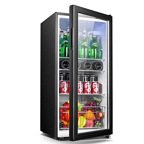 YUTGMasst Refrigerador De Bebidas, Congelador Pequeño, 42Db, Compresor Congelador De 3-15 ° C, Iluminación LED, Puerta De Vidrio con Marco Negro, Sala De Estar, Refrigerador Mini Bar, 120 litros,120L
