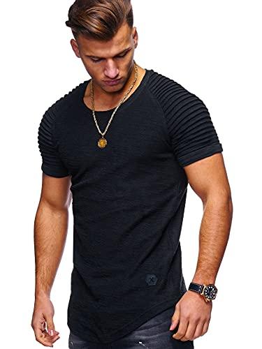 Camiseta Hombres Verano Elástico Color Sólido Cuello Redondo Shirt Deportiva Hombre Casual Transpirable Dobladillo Curvo Shirt Funcionamiento Todo Fósforo Manga Corta Hombres A-Black XL