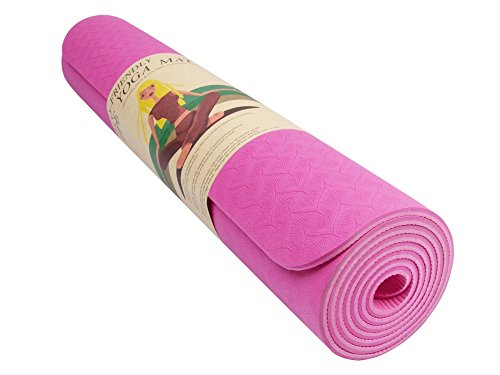 Qubabobo - Tappetino per esercizi in TPE ad alta densità da 6 mm, per pilates, yoga, ginnastica, fitness, allenamento, con tracolla e borsa per il trasporto, colore rosa