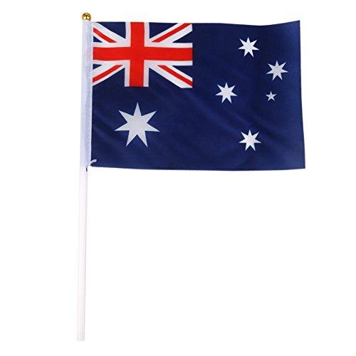 Naliovker Hand Waving Australia National Flags Plastikstangen 21 X 14 cm Packung Mit 12 Stück