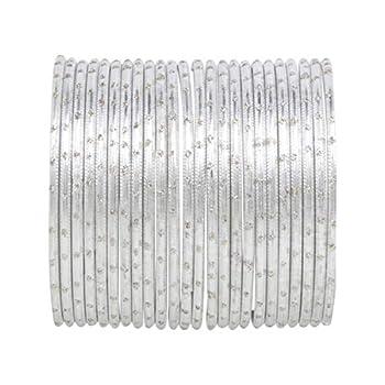 Efulgenz Indian Bangles Set Bollywood Plain Metal Bangle Bracelets Costume Jewelry for Women & Girls  Set of 24  2-6
