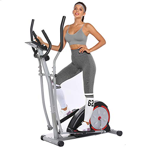 Elliptical Machine Eliptical Trainer Exercise Machine for Home Use Magnetic Smooth Quiet Driven with LCD Monitor and Pulse Rate Grips (Black)