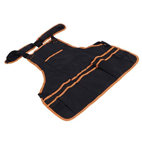 Mxzzand Delantal de Limpieza Impermeable para Herramientas Delantal de Ropa de jardinería Oxford Ajustable Lavado de Autos para jardín(Orange Edging)