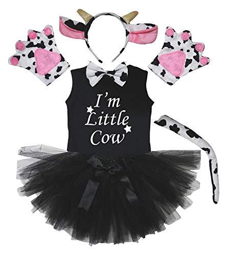 Petitebelle Disfraz de vaca con tut para nia de 6 piezas (6-8 aos)