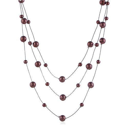 Collar de perlas de moda de joyería popular cadena de perlas de alambre de acero multicapa corto clavícula collar joyería femenina,