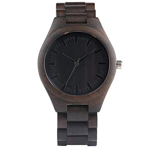 YJRIC Reloj de Madera Reloj de Pulsera de Cuarzo de Nogal/ébano de Lujo Hombre, Correa de Reloj de Madera, diseño Simple, Pulsera, Cierre, Relojes, Regalo para Hombre, A