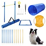 Yiotl Dog Agility Equipmnet Set, 30 Pcs Outdoor Dog Obstacle Training Course, Including Frisbee, Pause Box, 2 Tunnel, Adjustable Hurdles, 8 Weave Poles, Whistle, Carrying Bag