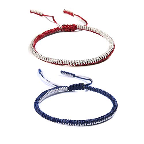 HUNO Handmade Weave Tibetan Buddhist Woven Knots Bracelets Mens Womens Lucky Red String Bracelets for Protection Jewelry-red and Blue