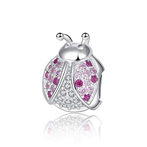 Pandora 925 Braccialetto di gioielli Naturale Xiaojing Elenco Sterling Silver Coccinella Rosa Zircone cubico Insetto Charm Bead Donne Regali fai da te