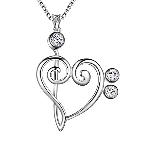 Aurora Tears 925 Sterling Sliver Musical Note Necklace Love Heart Pendant Treble Clef Charm Jewellery Music Lover Gift for Women and Girls DP0152W