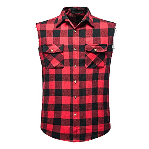 Burband Men's Muscle Cut Off Shirts Slim Fit Button Down Vests Vintage Cowboy Plaid Sleeveless Tops Flannel Shirts Red