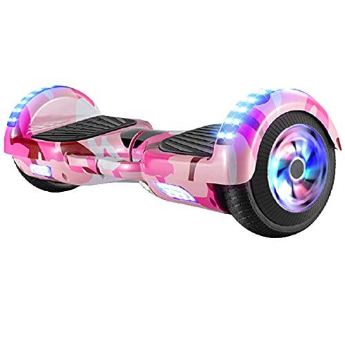 Patinete EléCtrico Electric Scooter Hoverboard con IluminacióN Led Motor Dual de 400w Puede Girar 360 Grados Antideslizante,Pink