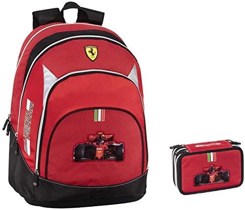 Mochila escolar Ferrari redonda organizada 2020 + estuche de 3 pisos completo + llavero silbato + 10 bolígrafos con purpurina