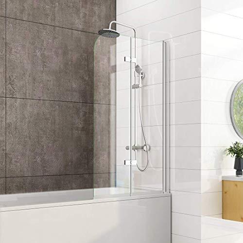 Heilmetz 100 x 140 cm Badewannen Duschwand Duschabtrennung Badewannenaufsatz Faltwand Duschtrennwand 6mm ESG Sicherheitsglas mit beidseitiger Nano Beschichtet