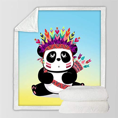 RKZM Manta suave de Panda Sherpa de dibujos animados Animal Manta de forro polar Manta de peluche para niños Panda Picnic Manta de 200 x 150 cm