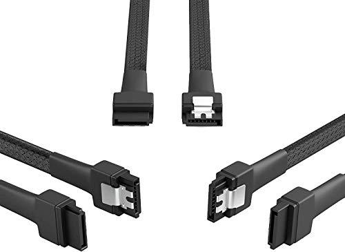 KabelDirekt – 3X SATA-3-Kabel 6 Gb/s – 30 cm, gerade (Datenkabel, 6 Gbit/s, SATA-III/Serial-ATA, L-Stecker, Set aus 3 Kabeln, verbindet Festplatten/SSDs/Laufwerke mit dem Mainboard, schwarz)