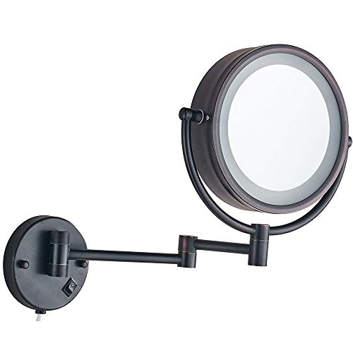 Cavoli Wall Mounted Makeup Mirror with LED Lighted Oil Rubbed Bronze 10x Magnification, Double Sided 8.5-inch Christmas Gift